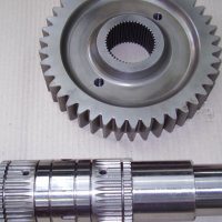Case hardened gear and spline shaft